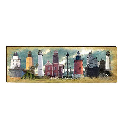 "Delaware Lighthouses Home Decor Art Print on Real Wood (9.5""x30"")-Mill Wood Art"