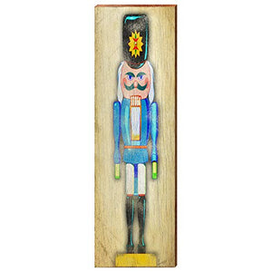 "Blue Nutcracker Home Decor Art Print on Real Wood (9.5""x30"")"