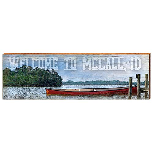 "Welcome to McCall Idaho Red Canoe on Lake Sign Home Decor Art Print on Real Wood (9.5""x30"")-Mill Wood Art"