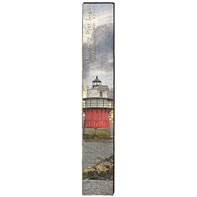 "Duxbury Pier Lighthouse Home Decor Art Print on Real Wood (9.5""x60"")-Mill Wood Art"