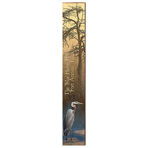 "Blue Heron in Port Aransas Texas Home Decor Art Print on Real Wood (9.5""x60"") Each"