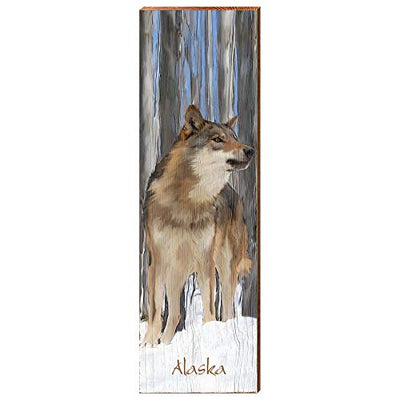 "The Great Alaskan Wolf Home Decor Art Print on Real Wood (9.5""x30"")-Mill Wood Art"