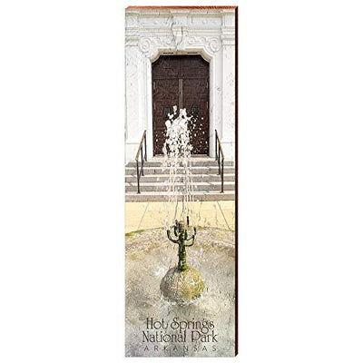 "Hot Springs National Park, Arkansas Home Decor Art Print on Real Wood (9.5""x30"")-Mill Wood Art"