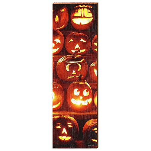 "Jack-O-Lanterns Vertical Home Decor Art Print on Real Wood (9.5""x30"")-Mill Wood Art"
