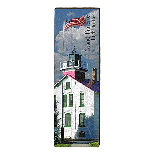 "Grand Traverse Lighthouse Home Decor Art Print on Real Wood (9.5""x30"")-Mill Wood Art"