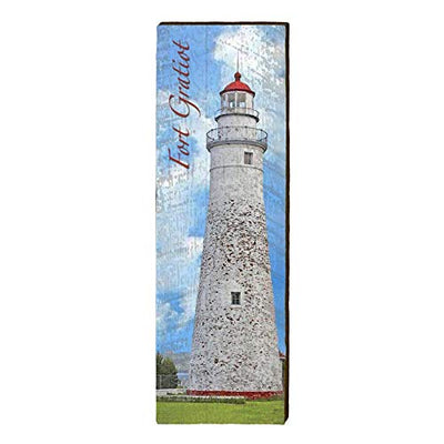 "Fort Gratiot Lighthouse Home Decor Art Print on Real Wood (9.5""x30"")-Mill Wood Art"