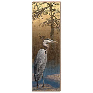 "Blue Heron at Dusk Home Decor Art Print on Real Wood (9.5""x30"")"