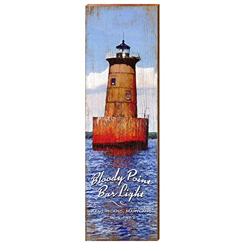 "Bloody Point Bar Lighthouse Home Decor Art Print on Real Wood (9.5""x30"")-Mill Wood Art"
