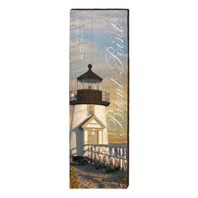 "Brant Point Lighthouse Home Decor Art Print on Real Wood (9.5""x30"")-Mill Wood Art"