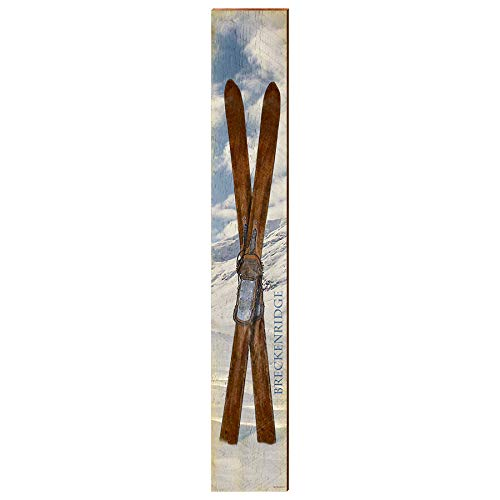 "Breckenridge Vintage Skis Home Decor Art Print on Real Wood (9.5""x60"") Each-Mill Wood Art"