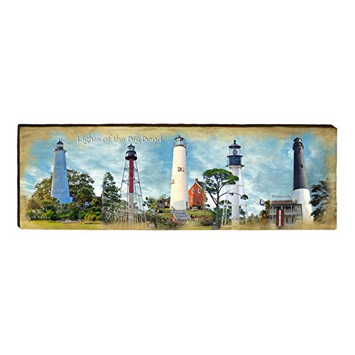 "Big Bend Lighthouse Collection Home Decor Art Print on Real Wood (9.5""x30"")-Mill Wood Art"