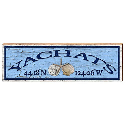 "Yachats Oregon Shell Latitude Longitude Home Decor Art Print on Real Wood (9.5""x30"")-Mill Wood Art"