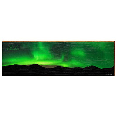 "Green Northern Lights in Alaska Home Decor Art Print on Real Wood (9.5""x30"")-Mill Wood Art"