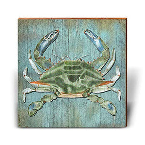 "Blue Crab with Blue Background Home Decor Art Print on Real Wood (18""x18"")"