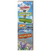 "Georgia Lake Directional Sign Home Decor Art Print on Real Wood (9.5""x30"")-Mill Wood Art"