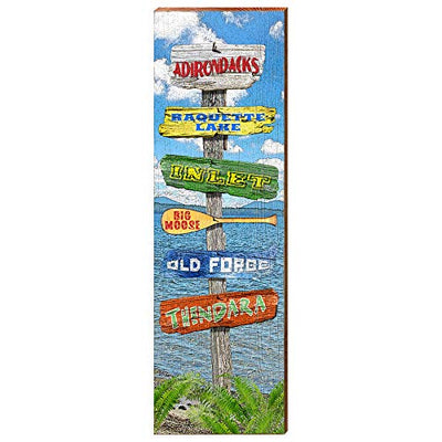 "Adirondack Lake Directional Home Decor Art Print on Real Wood (9.5""x30"")-Mill Wood Art"