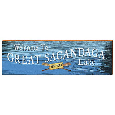 "Welcome to Great Sacandaga Lake Water Home Decor Art Print on Real Wood (9.5""x30"")-Mill Wood Art"