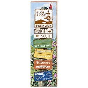 "Blue Ridge Parkway Directional Sign Home Decor Art Print on Real Wood (9.5""x30"")"