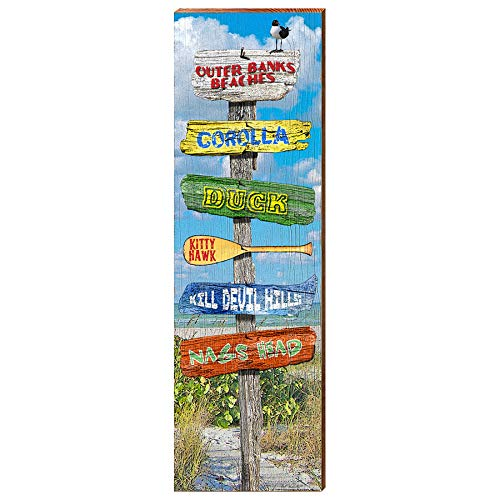 "Outer Banks Directional Sign Home Decor Art Print on Real Wood (9.5""x30"")-Mill Wood Art"