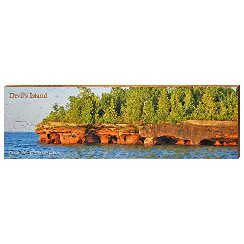 "Devil's Island, Wisconsin Home Decor Art Print on Real Wood (9.5""x30"")-Mill Wood Art"