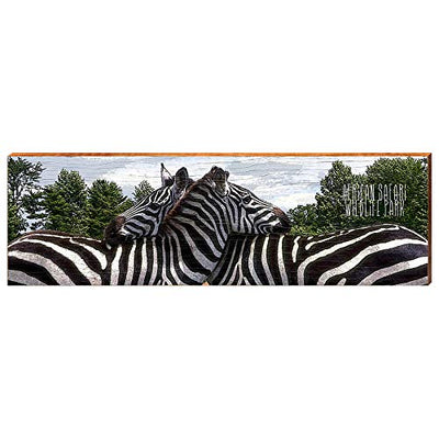 "African Safari Wildlife Park Zebra Home Decor Art Print on Real Wood (9.5""x30"")-Mill Wood Art"