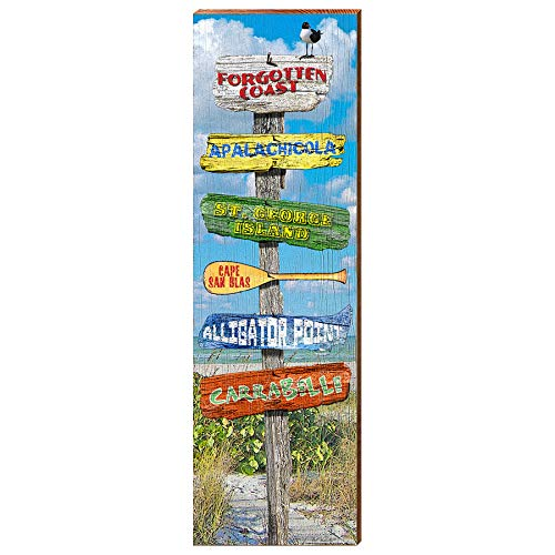 "Forgotten Coast Directional Sign Home Decor Art Print on Real Wood (9.5""x30"")-Mill Wood Art"
