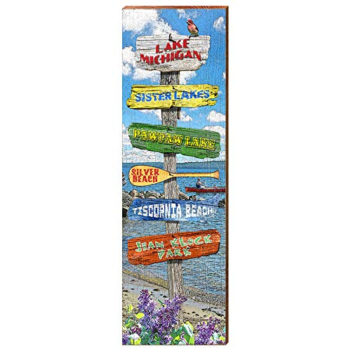 "Lake Michigan Lake Directional Home Decor Art Print on Real Wood (9.5""x30"")-Mill Wood Art"