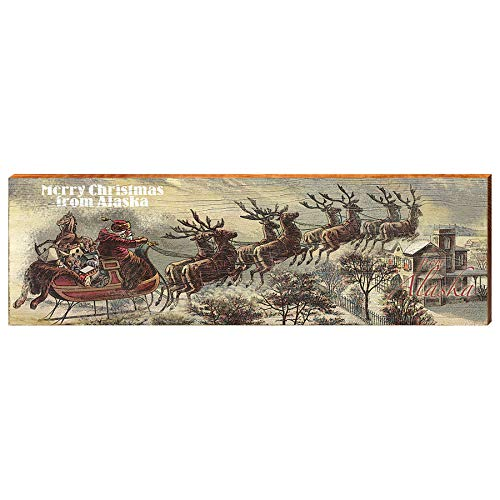 "Merry Christmas from Alaska Home Decor Art Print on Real Wood (9.5""x30"")-Mill Wood Art"