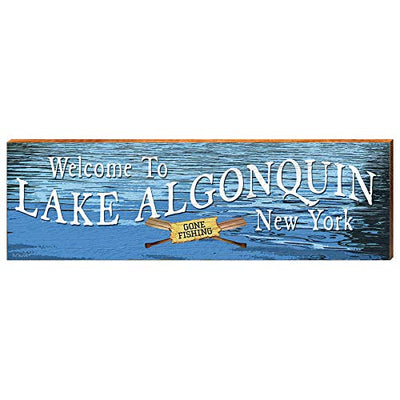 "Welcome to Lake Algonquin Water Home Decor Art Print on Real Wood (9.5""x30"")-Mill Wood Art"