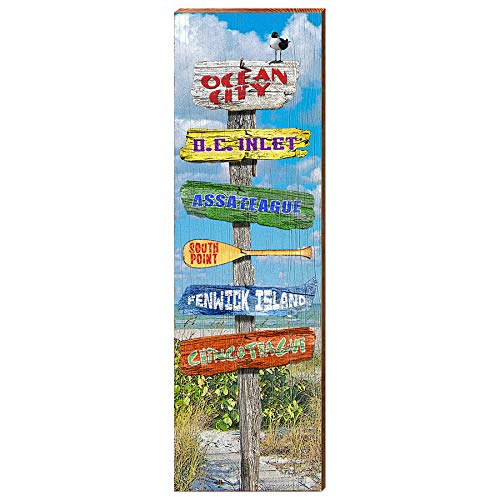 "Ocean City Beach Directional Home Decor Art Print on Real Wood (9.5""x30"")-Mill Wood Art"