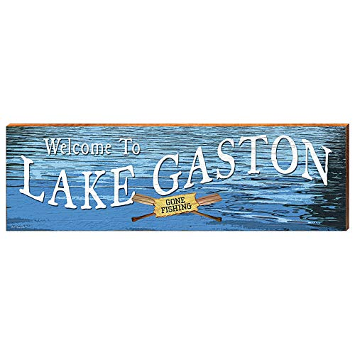 "Welcome to Lake Gaston Gone Fishing Home Decor Art Print on Real Wood (9.5""x30"")-Mill Wood Art"