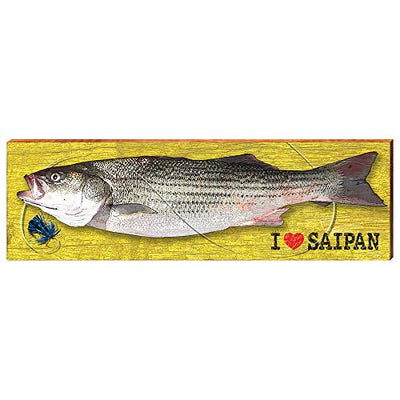 "MILL WOOD ART I Heart Saipan Fish Yellow 9.5""x30""-Mill Wood Art"