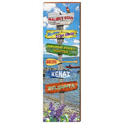 "Alaska Landmarks Directional Sign Home Decor Art Print on Real Wood (9.5""x30"")-Mill Wood Art"