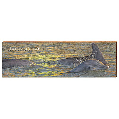 "Jacksonville Florida Dolphin Home Decor Art Print on Real Wood (9.5""x30"")-Mill Wood Art"