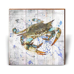 "Blue Crab Home Decor Art Print on Real Wood (18""x18"")"