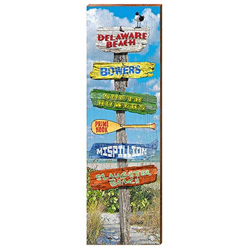 "Delaware Beach Directional Sign Home Decor Art Print on Real Wood (9.5""x30"")-Mill Wood Art"