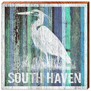 "South Haven's White Egret Home Decor Art Print on Real Wood (18""x18""-Mill Wood Art"