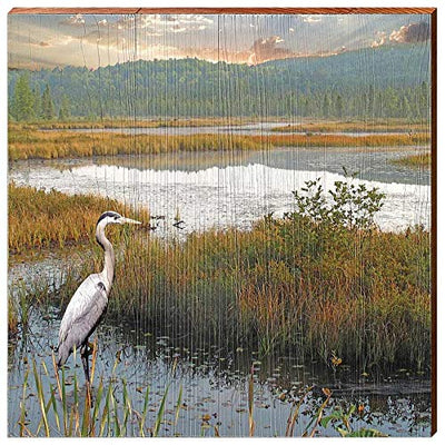 "Heron in Marsh Home Decor Art Print on Real Wood (18""x18""-Mill Wood Art"