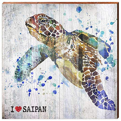 "I Heart Saipan Sea Turtle White Home Decor Art Print on Real Wood (18""x18""-Mill Wood Art"
