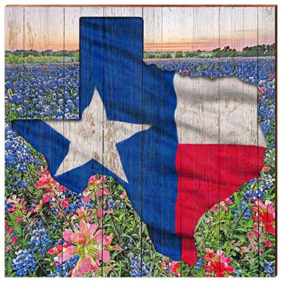 "Texas State with Bluebonnets Home Decor Art Print on Real Wood (18""x18"")-Mill Wood Art"