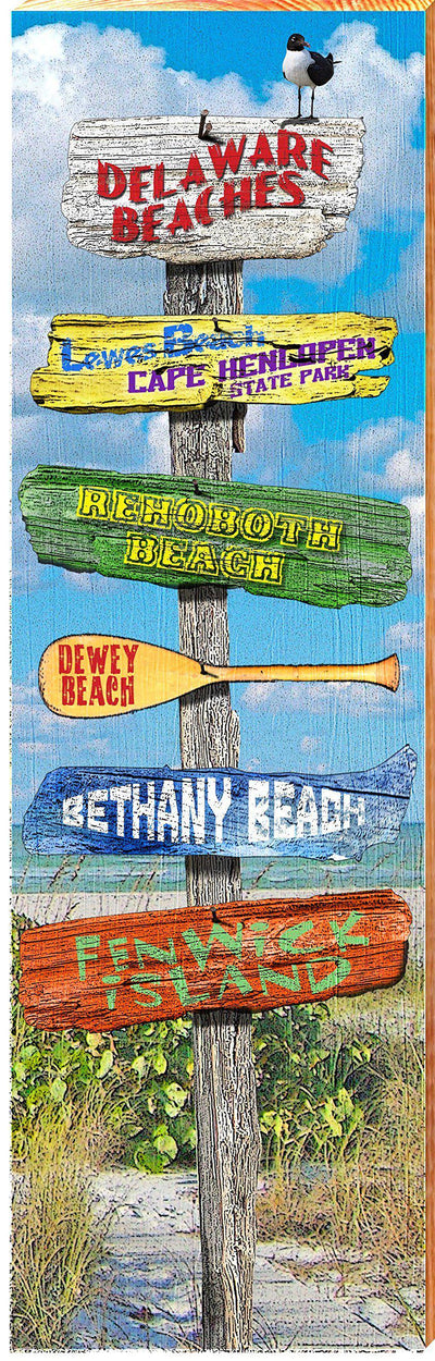 "MILL WOOD ART Delaware Beaches Directional Sign Home Decor Art Print on Real Wood (9.5""x30"")-Mill Wood Art"