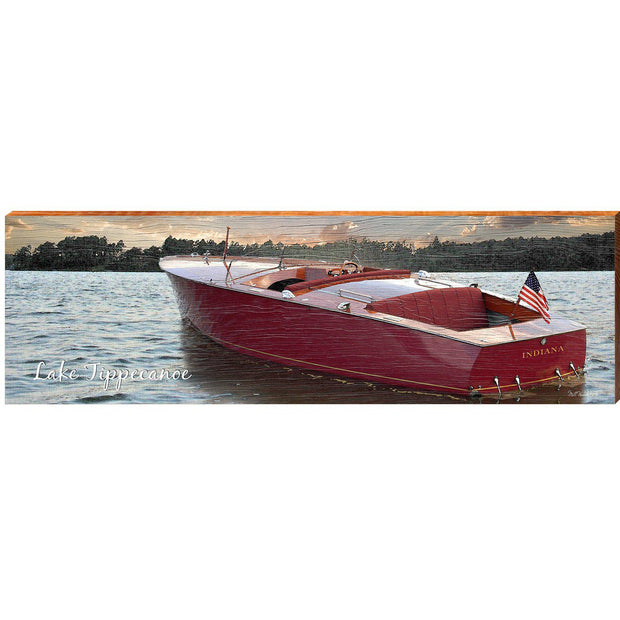 Lake Tippecanoe Vintage Boat Sunset ABS1