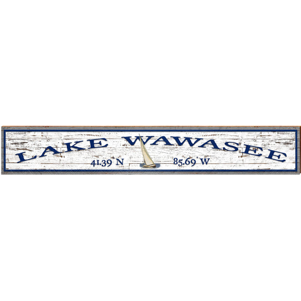 Lake Wawasee Sail Boat White Shabby ABS1