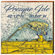 Map of Presque Isle, Erie Pennsylvania Wall Art Wall Art-Mill Wood Art