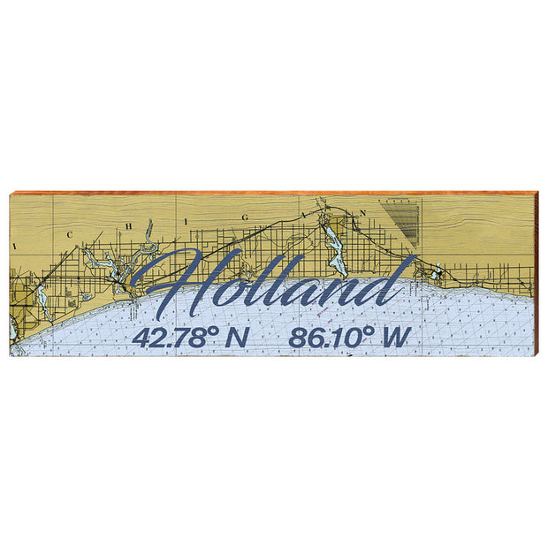 Holland, Michigan Navigational Styled Chart Wall Art-Mill Wood Art