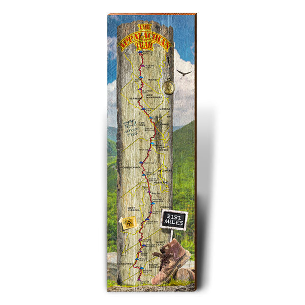 Appalachian Trail Sign Landscape Piece-Mill Wood Art