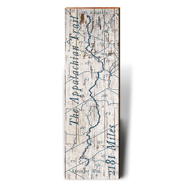 Appalachian Trail Weathered Blue and White Trail Map Wall Art-Mill Wood Art