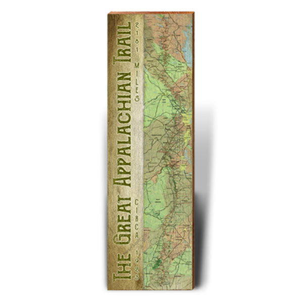 Great Appalachian Trail Topographical Trail Map Wall Art-Mill Wood Art