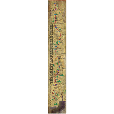 "Great Appalachian Trail Vintage Large Trail Map | Size: 9.5"" x 60"" Wall Art-Mill Wood Art"