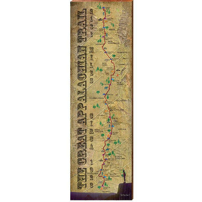 Great Appalachian Trail Vintage Trail Map Wall Art-Mill Wood Art